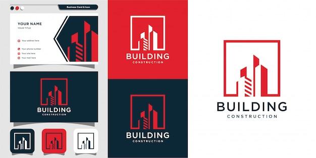 Budowa Logo Budowy I Projektowanie Wizytówek, Ikona, Nowoczesna Koncepcja, Architektura, Osiedle, Premium Wektorów