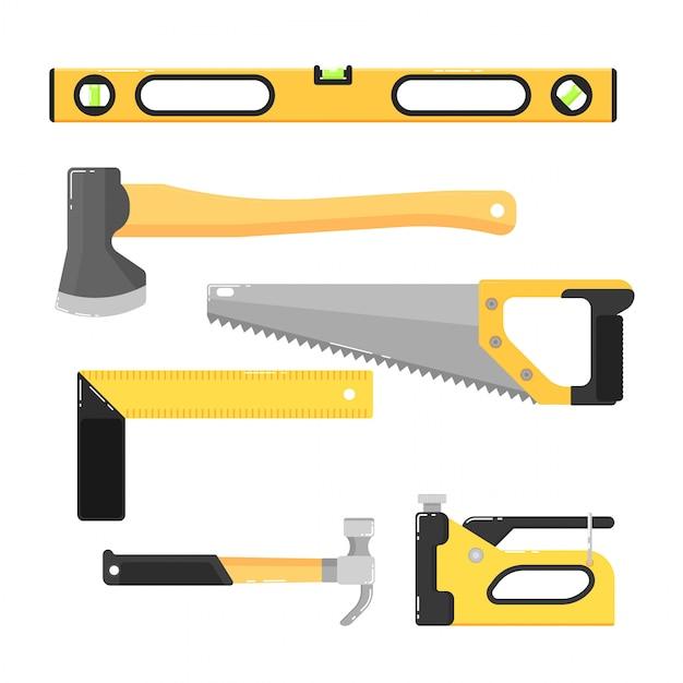 Budować narzędzia odizolowywających na bielu Premium Wektorów