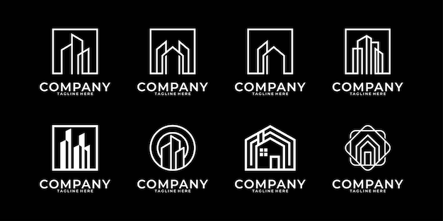 Budowanie Kolekcji Logo Sztuki Linii Nieruchomości Premium Wektorów