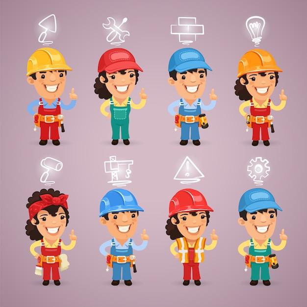 Budowniczowie Z Zestawem Ikon Premium Wektorów