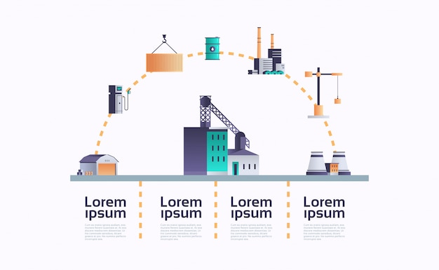 Budynek Fabryki Ikona Infografika Szablon Roślina Z Rur I Komina Premium Wektorów