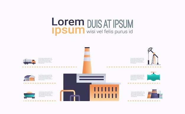 Budynek Fabryki Ikona Infographic Szablon Roślina Z Komina Rurowego Premium Wektorów