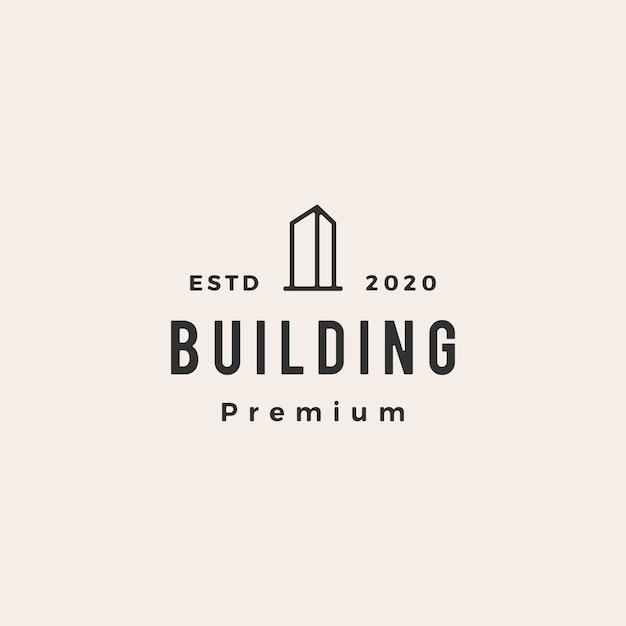Budynek Hipster Vintage Logo Ikona Ilustracja Premium Wektorów