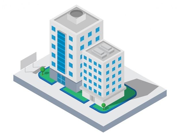 Budynek izometryczny. dwa budynki na podwórku z drogą. budowa 3d, inteligentne miasto Premium Wektorów