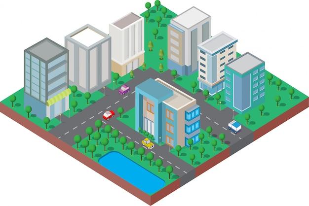 Budynek izometryczny. są na podwórku z drogą i drzewami. inteligentne miasto i park publiczny Premium Wektorów