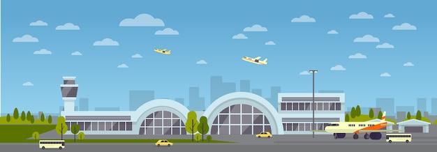 Budynek Lotniska. Duży Nowoczesny Terminal Lotniczy Z Oknem Szklanym. Startujące Samoloty. Premium Wektorów