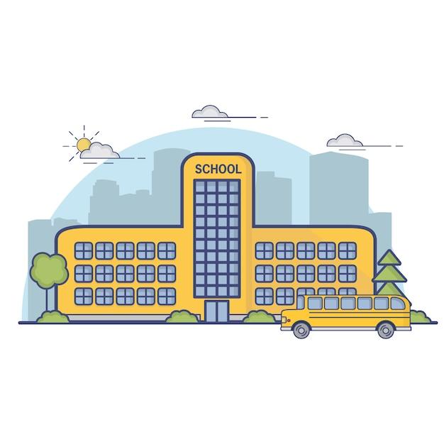 Budynek Miejskiego Liceum I Szkoły Podstawowej Z żółtym Autobusem. Premium Wektorów