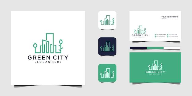 Budynek Szablon Projektu Logo Zielone Miasto. Minimalistyczne Logo Symbol Konspektu I Wizytówka Premium Wektorów