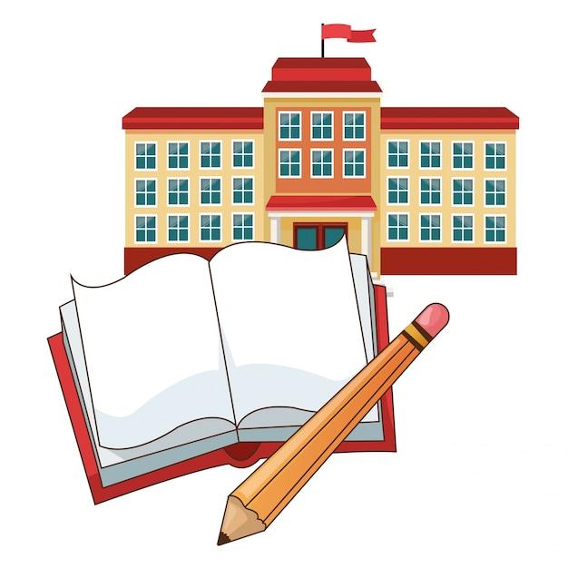 Budynek Szkoły Flaga Ołówek Książki Premium Wektorów