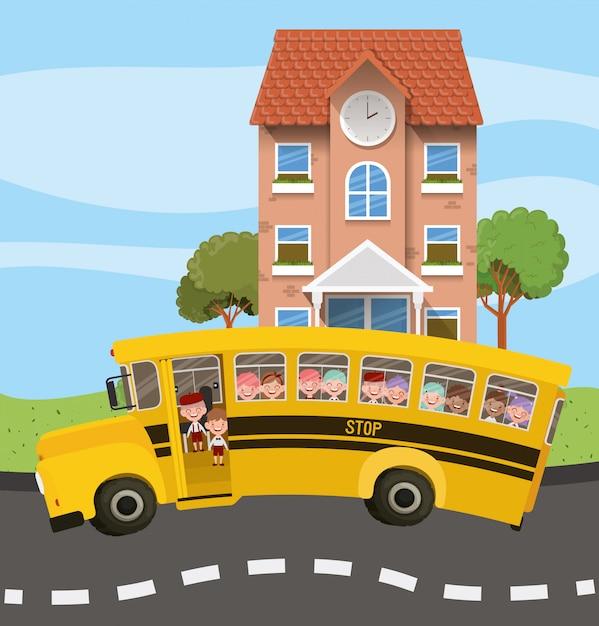 Budynek szkoły i autobus z dziećmi na scenie drogowej Darmowych Wektorów