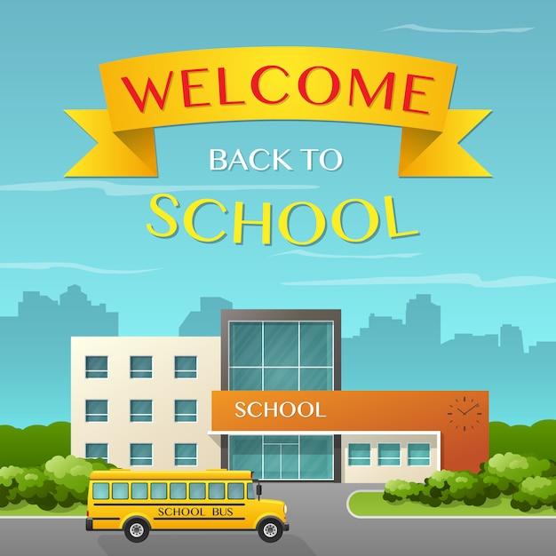 Budynek Szkoły I Autobus Premium Wektorów