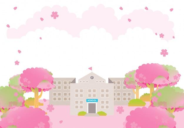 Budynek szkoły wiosna różowy sakura ceremonia ukończenia szkoły drzewo sezon Premium Wektorów