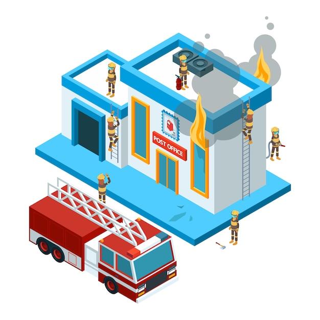 Budynek W Płomieniu Izometryczny. Strażacy Przy Pracą Gaszą Ogień Od Węża Elastycznego Przy Czerwonym Dużym Samochodowym Płonącym Miasta 3d Krajobrazem Premium Wektorów