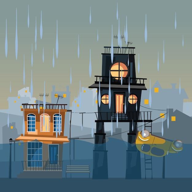 Budynek w wodzie ilustracji wektorowych Premium Wektorów