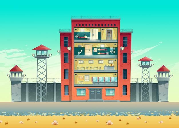 Budynek Więzienia Ogrodzony Drutem Kolczastym Na Wysokim Murze Darmowych Wektorów