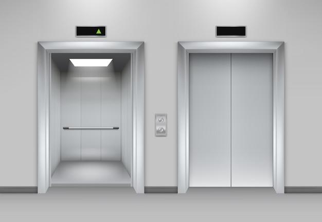 Budynek z drzwiami windowymi. fasada biura biznesowego wnętrze realistyczne zamykanie otwieranie drzwi winda chromowane metalowe guziki zdjęcia Premium Wektorów
