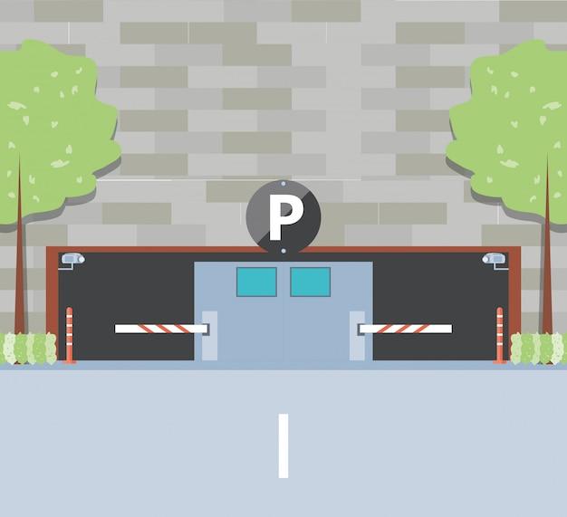 Budynek z wejściem do strefy parkowania i barykady Premium Wektorów