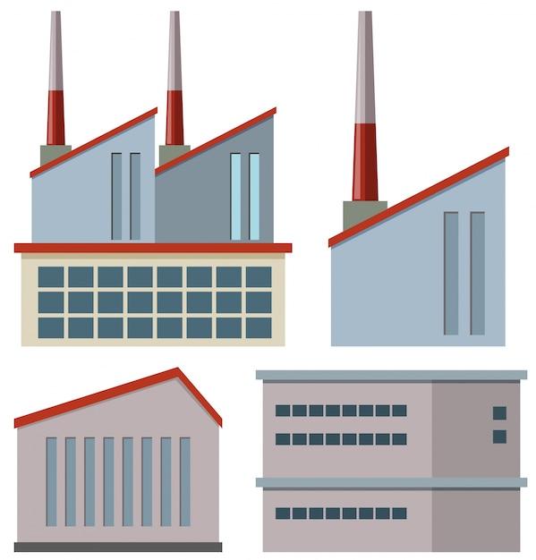 Budynki fabryczne z kominami Darmowych Wektorów