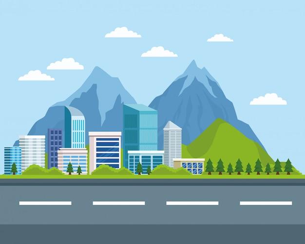 Budynki miejskie i przyroda Premium Wektorów