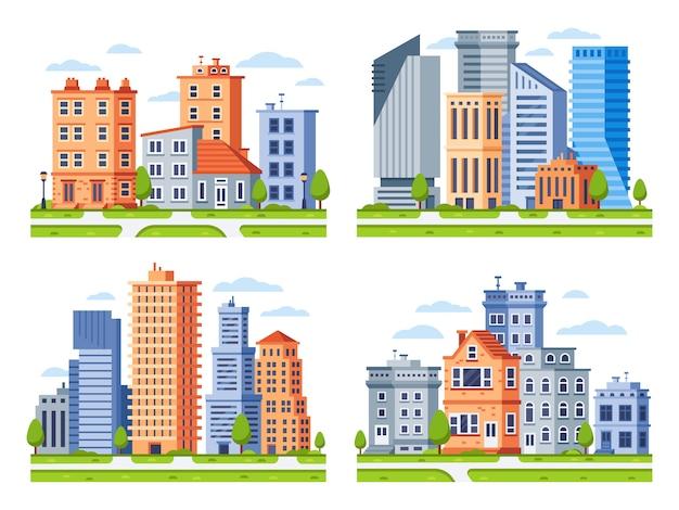 Budynki Nieruchomości Miasto Domy Gród, Budynek Kamienicy I Zestaw Ilustracji Miejskiej Dzielnicy Mieszkalnej Premium Wektorów