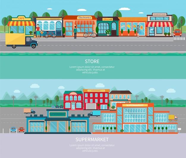 Budynki sklepów i supermarketów z zestawami poziome banery drogowe i parkingowe Darmowych Wektorów