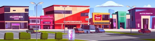 Budynki Sklepowe, Strefa Handlowa Z Ilustracją Sceny Parkingowej Darmowych Wektorów