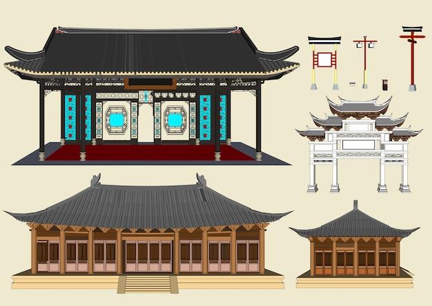 Budynki wektorowe, domy w stylu chińskim i domy japońskie Premium Wektorów