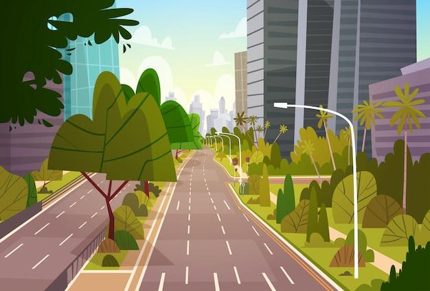 Budynki wieżowca ulicy miasta zobacz nowoczesne śródmieście pustego centrum miasta Premium Wektorów