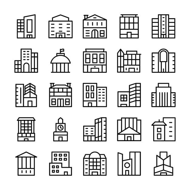 Budynki, Zabytkowe Ikony Linii Premium Wektorów