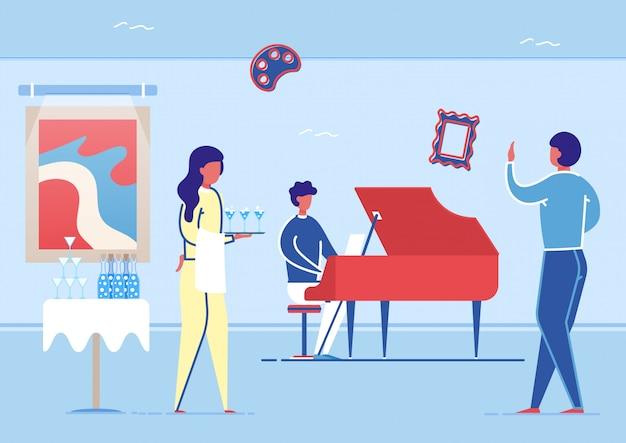 Bufet, artysta grający na fortepianie w sali galerii sztuki. Premium Wektorów