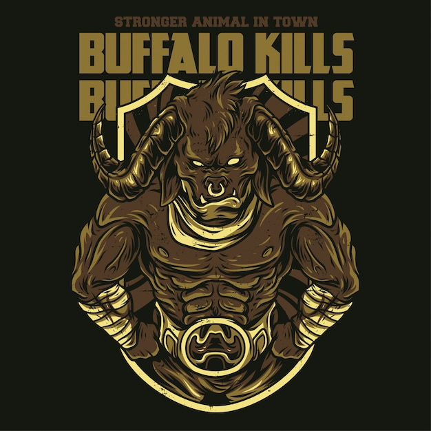 Buffalo Kills Illustration Premium Wektorów