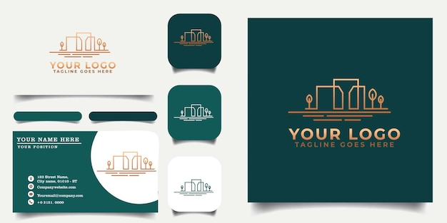 Building_logo_template_and_business_card_ Premium Wektorów