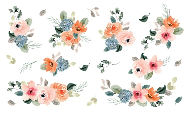 Bujna Brzoskwiniowa Kompozycja Kwiatowa Kolekcja Akwareli Premium Wektorów