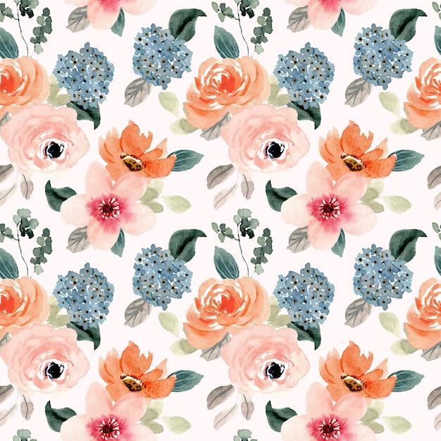 Bujny Brzoskwiniowy Niebieski Kwiat Akwarela Bezszwowe Wzór Premium Wektorów