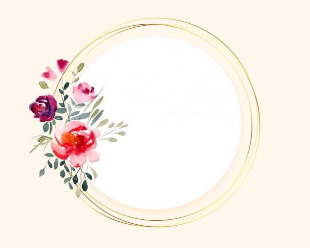 Bukiet Kwiatów Akwarela Na Okrągłej Złotej Ramie Darmowych Wektorów