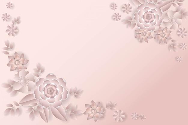 Bukiet Kwiatów W Stylu Wycinanki W Kolorze Różowym Premium Wektorów