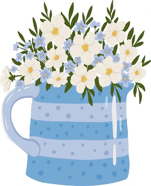Bukiet Kwiatów W Wazonie Premium Wektorów