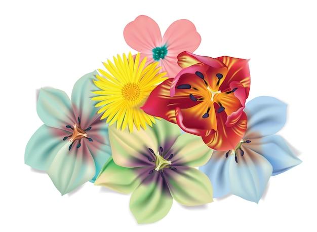 Bukiet kwiatów z rumianku, tulipana, fiołków. Premium Wektorów