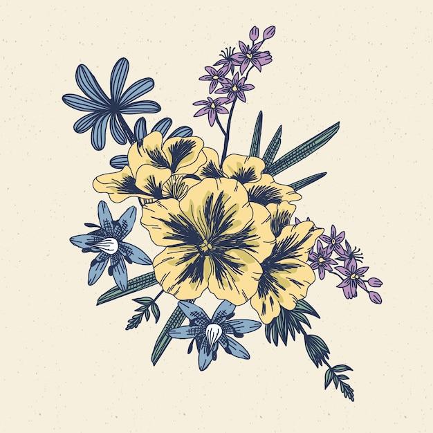 Bukiet Kwiatowy W Stylu Vintage Darmowych Wektorów