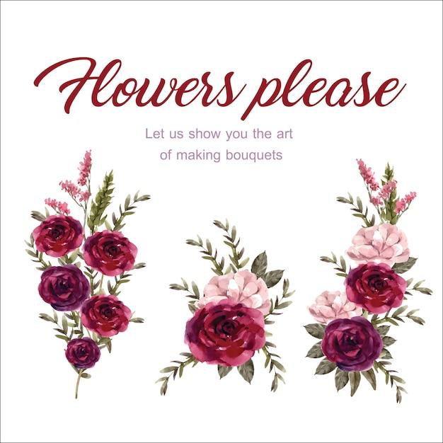 Bukiet Kwiatowy Wino Z Różą, Akwarela Ilustracja Antigonon. Darmowych Wektorów