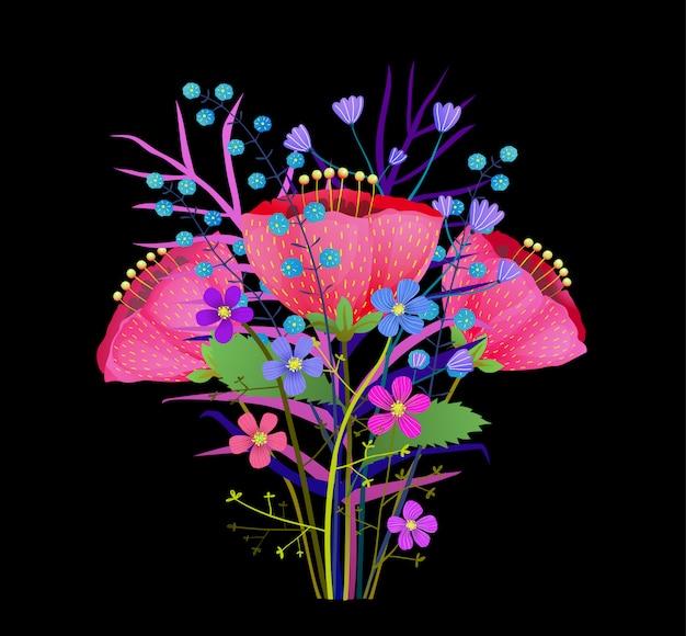 Bukiet Letnich Kwiatów Ilustracji. Streszczenie Kwiaty Maku Na Białym Tle Clipart. Wiosenna Flora, Gałązki Dzikich Kwiatów. Zioła I Liście Botaniczne Elementy Projektu. Różowe Piwonie, Tulipany, Rysunek Premium Wektorów