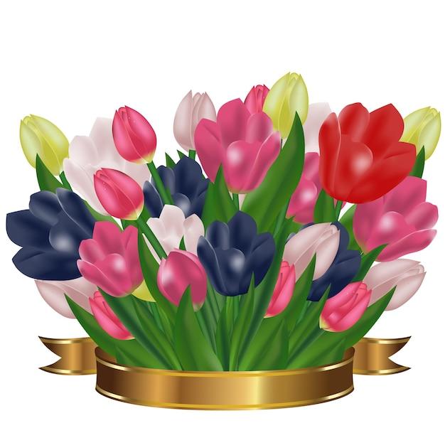 Bukiet Tulipanów Ze Złotą Wstążką. świąteczne Wiosenne Kwiaty. Symbol Wakacje. Premium Wektorów