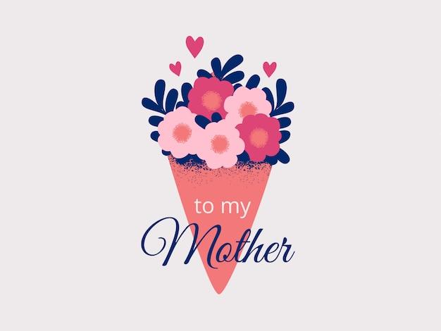 Bukiet wiosennych kwiatów zawinięty w papier jako prezent dla mamy. dzień matki, dzień kobiet 8 marca. Premium Wektorów