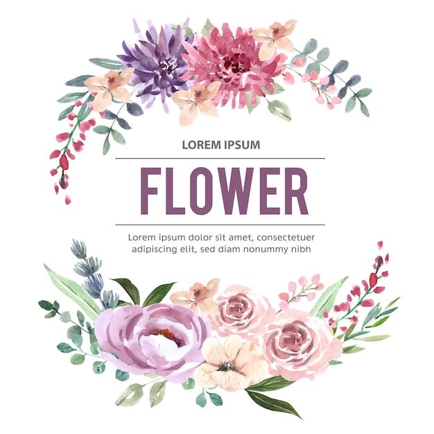 Bukiet z różowawymi kwiatami akwareli Darmowych Wektorów