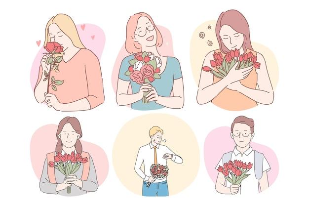 Bukiety Kwiatów Jako Prezenty Dla Koncepcji Kobiet. Premium Wektorów