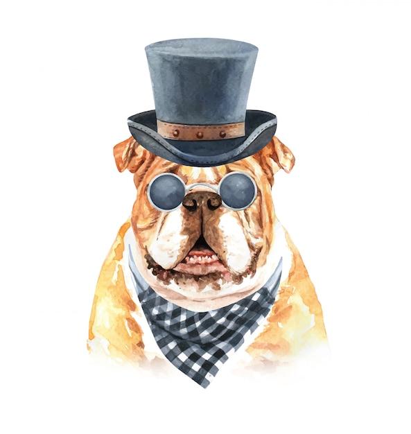 Buldog akwarela z szalikiem plaid okulary i kapelusz top. Premium Wektorów