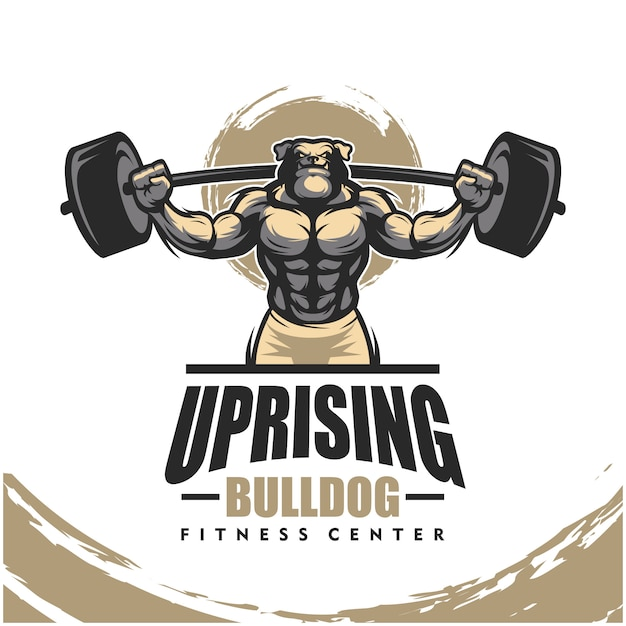 Buldog K9 Z Mocnym Ciałem, Logo Klubu Fitness Lub Siłowni. Premium Wektorów