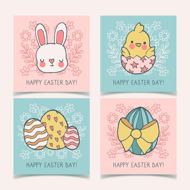 Bunnies And Eggs Instagram Easter Collection Darmowych Wektorów