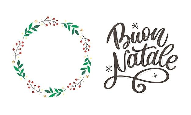 Buon Natale. Wesołych świąt Szablon Kaligrafii W Języku Włoskim Premium Wektorów