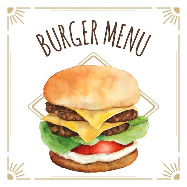 Burger akwarela do projektowania menu Premium Wektorów